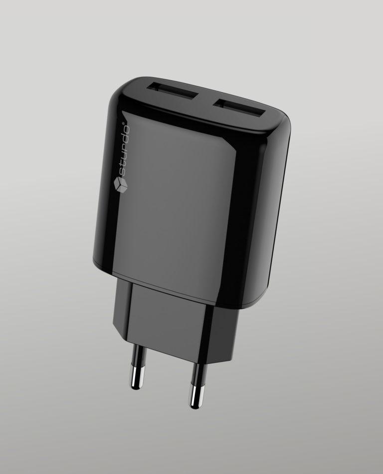 Power Adapter Sturdo 2xUSB, 2A, Black