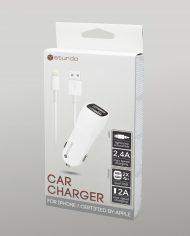 Duálna USB autonabíjačka Sturdo biela s káblom Lightning MFi – box
