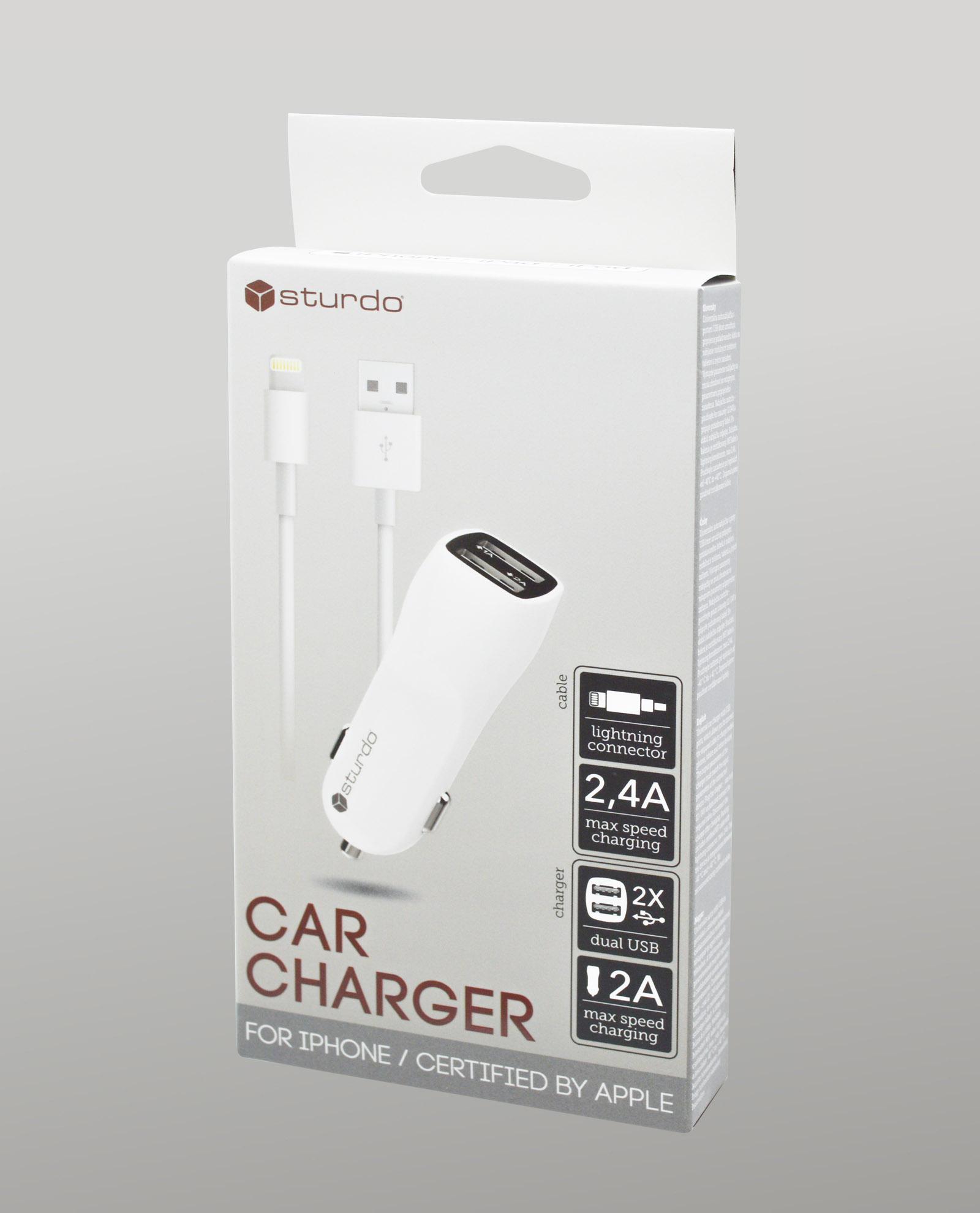 Duálna USB autonabíjačka Sturdo biela s káblom Lightning MFi – box e3fa60b868f