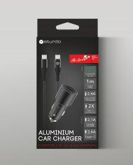 Hliníková nabíjačka Sturdo s USB-C káblom – box