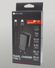 USB Travel Charger Sturdo 2A – Adapter, Cable – Pack