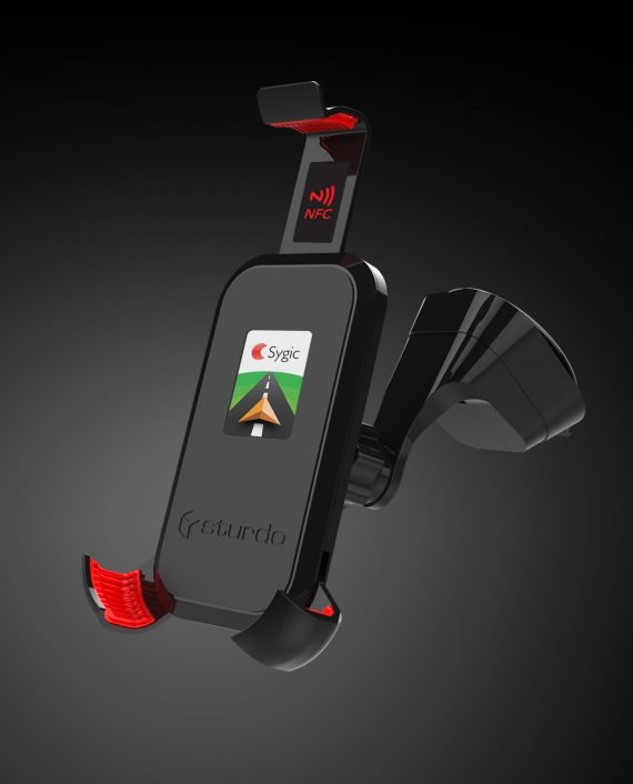 Car holder with built-in NFC