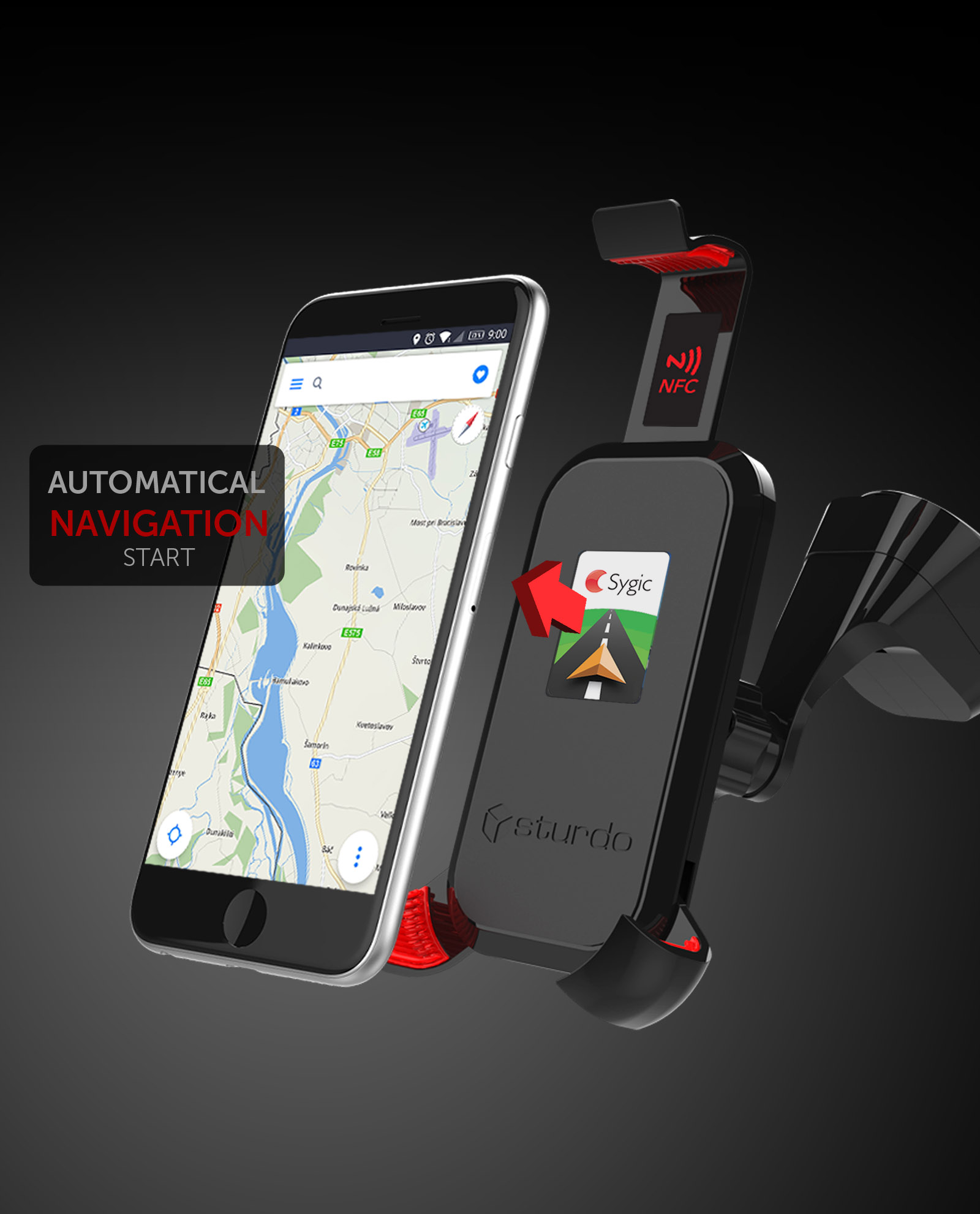Mobile Phone Car Holder with NFC for OS Android